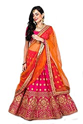 Suppar Sleave Womens Embroidered Taffeta Satin Lehenga Choli with Blouse Piece (Pink.Orange,Free Size)