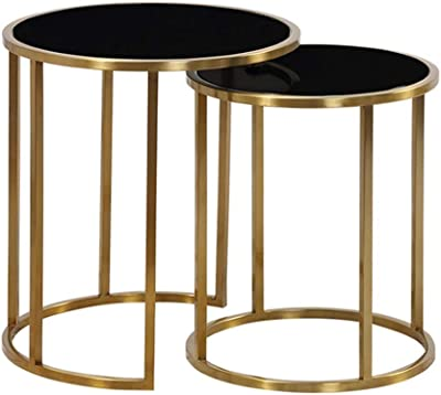 Lcxliga Contemporary Side Tables with for Living Room | End Tables for Small Spaces | Metal Basket & Tempered Glass Top |Set of 2