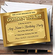 Golden Ticket Personalized Birthday Party Invitations