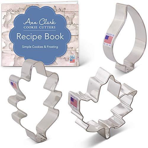 Ann Clark Ausstechformen - Herbstblätter - 3 Teile Set mit Rezept - Ahorn, Eiche, tropfenförmiges Blatt - US verzinnter Stahl
