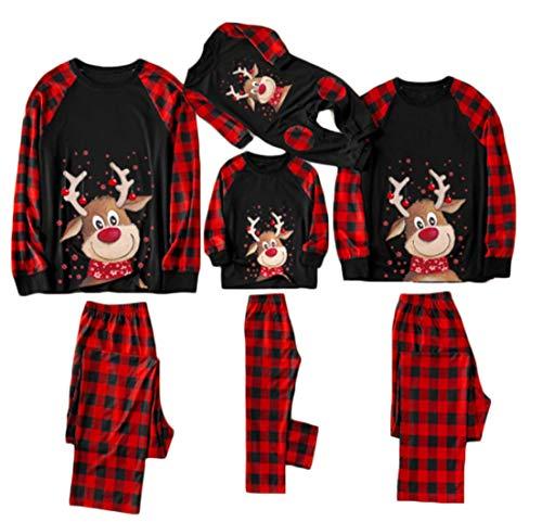Weihnachten Schlafanzug Familie Damen Herren Kinder Junge Mädchen Baumwolle Weihnachtspyjamas Set Hirsch Muster Shirt Top Kariert Pyjamashose Christmas Pyjamas Hausanzug (Schwarz/Kinder, 14Jahre)