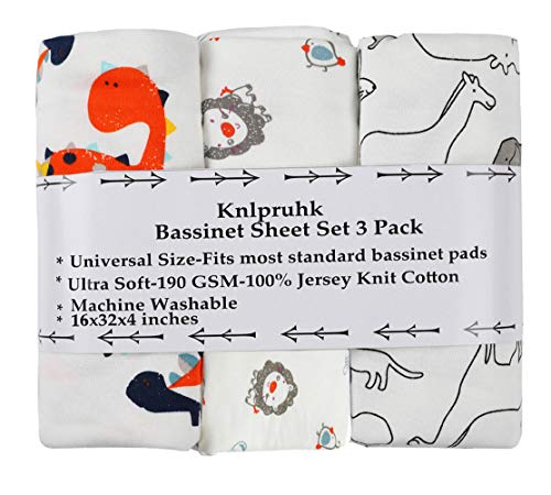 Bassinet Sheet Set 3 Pack 100% Jersey Knit Cotton 190GSM for Baby Boy Girl Ultra Soft Stretchy Dinosaur Elephant Koala and Other Animal by Knlpruhk