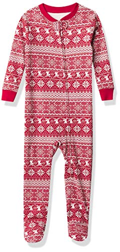 Amazon Essentials Zip-Front Footed Sleeper infant-and-toddler-bodysuit-footies, Rojo (Red Snowflake), 12-18 Meses