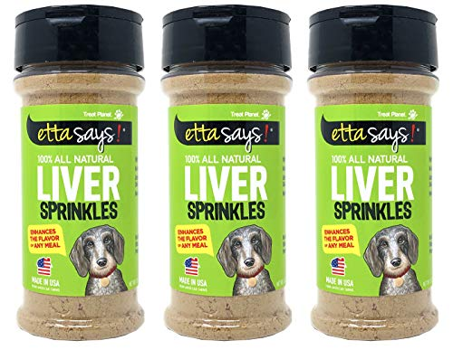 Etta Says! Dog Liver Sprinkles for Dogs – Pack of 3 – 3 oz. Dog Food Seasoning, Enhances the Flavor of any Meal