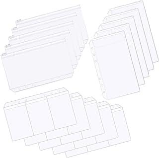TIENO A6 6-Hole Binder Pocket Envelope Planner Accessories Organizer Notebook Zipper Pouch Bill Bag Card Pockets Set 15pcs