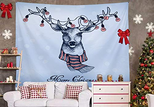 Xmas Tapestry Decoration Wall Hanging-(2020 NEW) Bedroom Dorm Living Dining Room Holiday Elk Lamp Bulb Scarf Christmas Blessing Simple Ins Style Big Large Small Background Cloth Curtains Gift Teen S