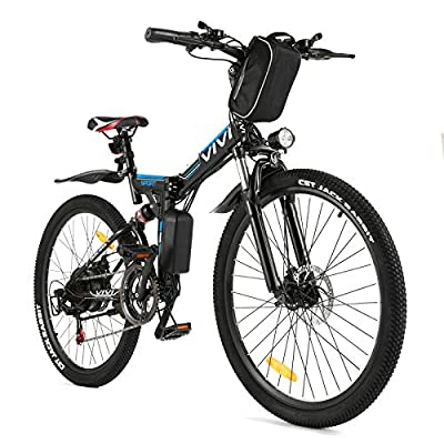 """Vivi Folding Electric Bike Electric Mountain Bicycle 26"""" Lightweight 350W Ebike, Electric Bike for Adults with Removable 8Ah Lithium Battery,Professional 21 Speed Gears"""