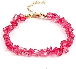 Jiuaisl Multicolor Stone Jewelry Broken Stone Beads Rose Crystal Quartz Bracelet Bracelet Female Gift