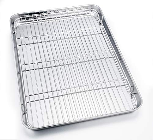 TeamFar Baking Sheet with Cooling Rack, 24''×16''×1.3'', Stainless Steel Full Size Cookie Sheet Pan and Baking Rack Set, Non Toxic & Rust Free, Thick & Heavy Duty, Mirror Finish & Dishwasher Safe