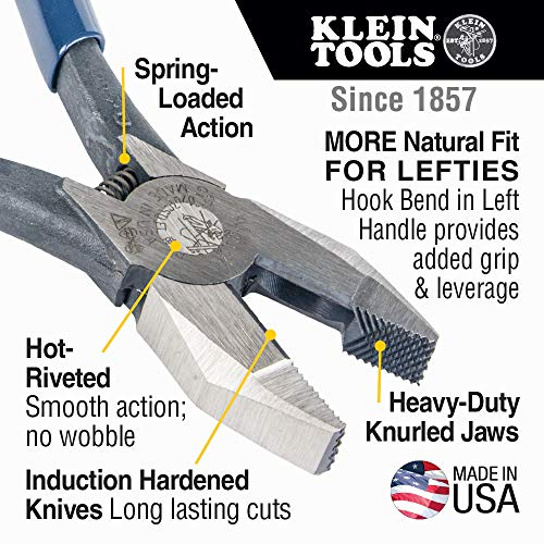 Klein Tools D201-7CSTLFT Ironworker Side Cutting Pliers to Twist and Cut Rebar Tie Wire, Left Handed and Spring Loaded, 9-Inch