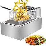 Commercial Deep Fat Fryer, 6.3QT/6L 2500W MAX Stainless Steel Electric Deep Fryer