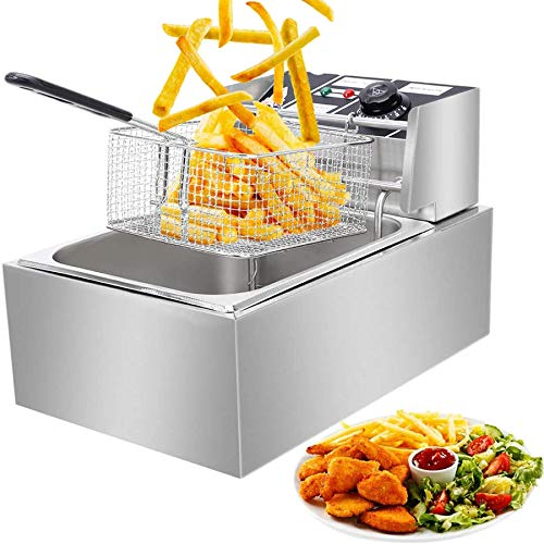 Commercial Deep Fat Fryer, 6.3QT/6L 2500W MAX Stainless Steel Electric Deep...