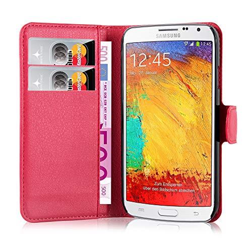 Cadorabo Hülle kompatibel mit Samsung Galaxy Note 3 NEO Hülle in Karmin ROT Handyhülle mit Kartenfach & Standfunktion Schutzhülle Etui Tasche