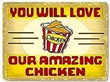 Ninguna marca Yetta Quiller KFC restaurante pollo frito cartel de metal tienda de alimentos delicatessen