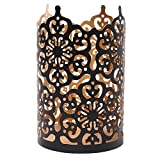 Hosley Flower 7 Inch High Cut Bronze LED Votive Tealight Holder Lantern Ideal Gift for Wedding Party Use with Jar Candles Tealights Votive Candle Gardens Aromatherapy Spa O4