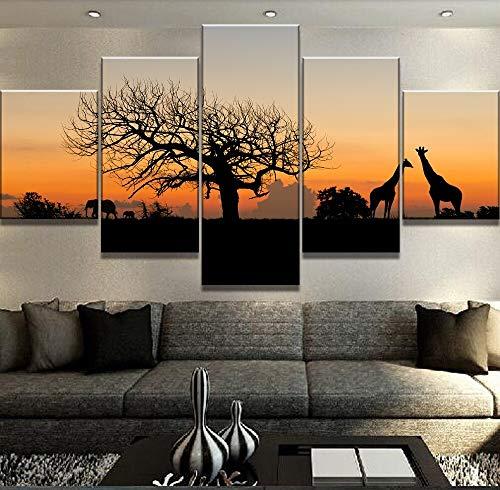 Cuadro en Lienzo 5 Partes Pintura de la Lona Animales de la Sabana Africana Cuadros Paisaje Lienzo Arte de la Pared Decoración para el hogar para la Sala Imagen de la Pared Sin marcoFFFZDCKAY