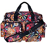 Bohemian Floral Deluxe Duffle Diaper Bag with Shoulder Strap