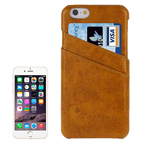 H-HX Case Leather Deluxe Retro PU Leather Case met kaartsleuven met Mode Logo for iPhone 6 Plus & 6S Plus (donkerblauw), geel