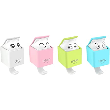 Cute Decorative Stick On Lucky Bag Cat Heavy Duty Hooks for Hanging Keys Towels for Children/'s Room//Kitchen//Bedroom//Bathroom//Office Self Adhesive Animal Hooks Bags LuoCoCo 4 Pack Wall Coat Hooks