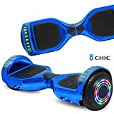 NHT Hoverboard Electric Self Balancing Scooter with Build in Bluetooth Speaker Hover Board LED Lights Safety Certified (Chrome Blue)