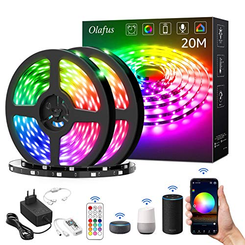 Olafus 20M Tiras LED WiFi Alexa, Tira LED RGB Smart 5050 Control APP 600 LEDs, Cinta LED RGB Function con Google Home Amazon Alexa, 16 Millones Colore Luces decorativas para Navidad y Fiestas