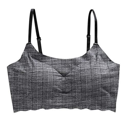 Keepmove Women's Striped Wire Free Bra Beauty Back Tube Everyday Comfort Underwear(Black,M)