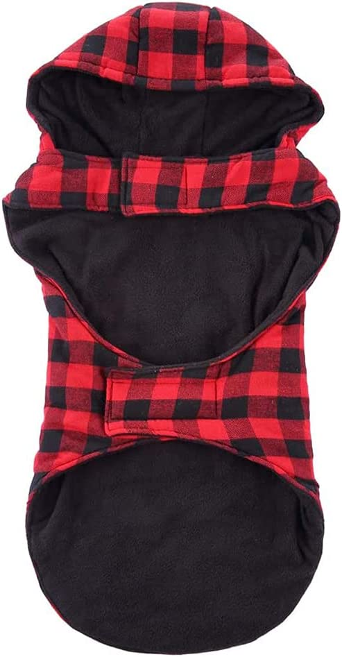 Saqenog Popular standard Large Dog Plaid Hoodie Fleece Popular popular Thicker Winter Coat Wa