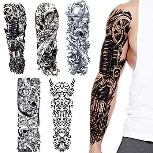 Full Arm temporäre Tattoos, VIUME extra temporär Tätowierung schwarz Klebe Tattoo Körperkunst Aufkleber Fake Arm Tattoos Sticker für männer Frauen (5 Blätter)