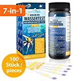 Prueba 7 en 1 para Comprobar la Calidad de Agua de un Acuario - Muestra 7 valores - Pack de 100 Tiras en un Bote