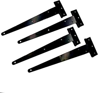 4, 4inch Black Barn Door Gates Tee Hinge Wrought Hardware Iron Rustproof 4Pack 4 Inch T Strap Heavy Duty Shed Door Hinges