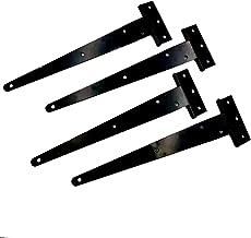 T-Strap Shed Hinge,Plainmarsh Gate Strap Heavy Duty Hinge Door Barn Gates Hinges Black Wrought Hardware Iron Rustproof (10 inch, 4 Pack)