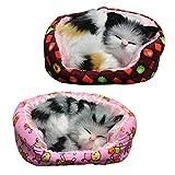 moin moin フィギュア 置物 オーナメント 猫 ねこ キャット ベッド ハウス うとうと すやすや 眠る 寝姿 | 並べて可愛い 手のひらサイズ プレゼント に | 三毛猫 灰色猫 2匹セット 2008fig12