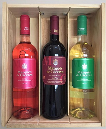 Caja de madera 3 botellas - Marques de Caceres - Vino Tinto Crianza / Vino Blanco Joven / Vino Rosado