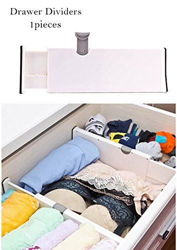 Diviseur à tiroirs réglable Organisateur de coiffeuse Meuble de rangement de cuisine Rampes 10,8 pouces (le plus court) - 17 pouces (le plus long) 1 pièce Blanc (blanc)