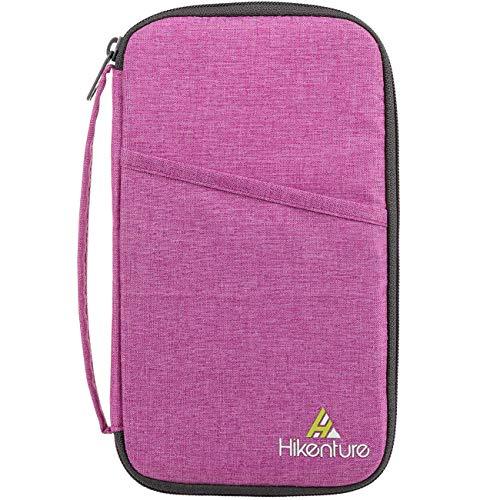 Hikenture Reiseorganizer mit RFID Blockier Ausweistasche Reisepasshülle Dokumententasche Travel Wallet für Pass, Ausweis, Bordkarten, Reisedokumente (Rosa)