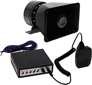 YHAAVALE Car Police Siren Horn 5 Tone Sounds Vehicle Horn with Mic PA System Emergency Sound Amplifier Speaker