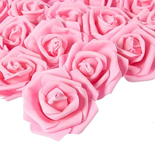 Rose Flower Heads Artificial Roses for Weddings and DIY Crafts (3 in Blue 100 Pack)
