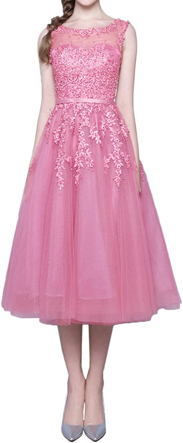 Avril Dress Sweet Sleeveless Bridesmaid Belt Homcoming Dress Applique Lace