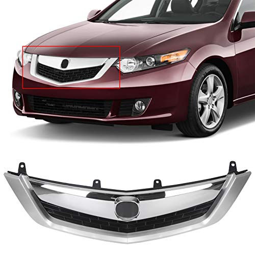 ECOTRIC Chrome Front Grille Grill Plastic With Silver Moulding Trim Compatible With 2009-2010 Acura TSX 2010 2009 Chrome Front Bumper Mesh Grille Cover Molding Vent Hood Trim