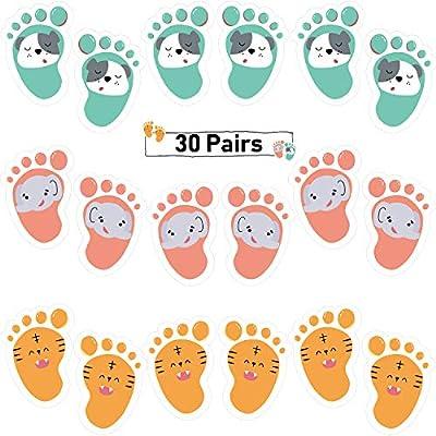 30 Pairs Cartoon Kids Floor Stickers Self-Adhesive Floor Decals Social Distance Floor Stickers Cute Footprint Stickers Decors for Kids Room Party Nursery Floor Stairs, 3 Styles