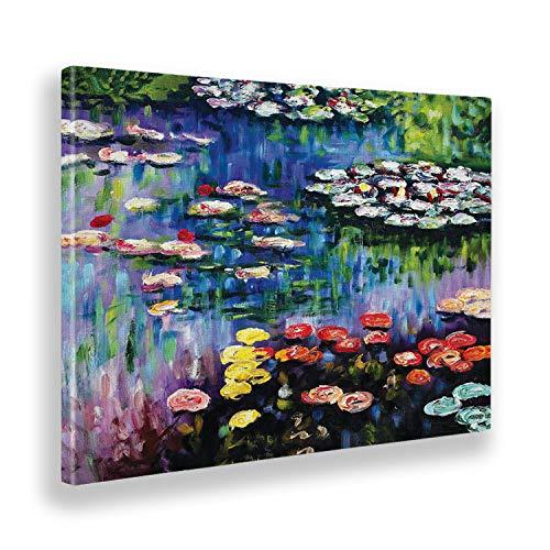 Giallobus - Quadro - Claude Monet - Ninfee dello Stagno a Giverny - Tela Canvas - 100x70 - Pronto da Appendere - Quadri Moderni per la casa