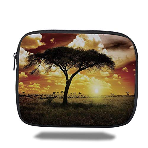 Preisvergleich Produktbild Laptop Sleeve Case, Safari Decor, Single Tree at Dreamy African Sunset with Dark Dramatic Clouds on The Sky Art Photo, Green Red White, Tablet Bag for Ipad air 2 / 3 / 4 / mini 9.7 inch