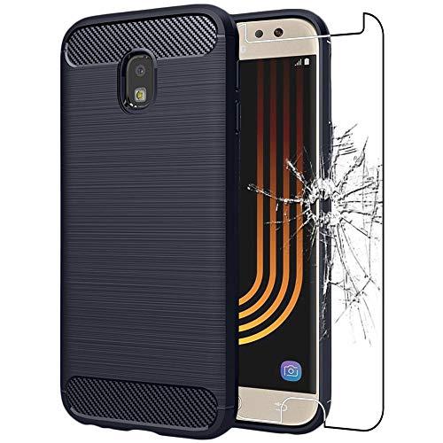 ebestStar - Cover Compatibile con Samsung J7 2017 Galaxy SM-J730F Custodia Silicone Gel Design Fibra di Carbonio Anti Scivolo, Blu Scuro + Vetro Temperato [Apparecchio: 152.4x74.7x7.9mm 5.5'']