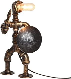 Lampe de Table vintage Tuyaux D'eau en fer Industriel Rétro Lampe de Table, PIPRE Robot Steampunk Desktop Light(Ampoule no...