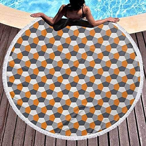 Manta de Playa Toalla de Playa Multiusos Abstracta Estilo Moderno Azulejo de Mosaico Inspirado en Origami con Formas hexagonales con Borla, Alta solidez de Color Gris Carbón Gris Naranja (Diámetro 59