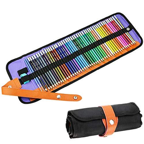 Buntstifte Set, Powcan 48tlg Zeichenstifte Set mit Tasche Brillanten Farben Bleistift Set mit 2 Bürsten & Bleistift für Kinder & Erwachsene