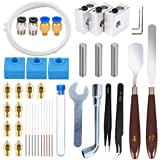 HAWKUNG 42 Pcs 3D Printer Accessories Kit, 10 Nozzle + 3 Heater Block + 3 Throat Tube + 3 MK8 Silicone Socks + 10 Cleaning Needle + Other Parts Compatible with MK8 Makerbot Anet A8 Reprap Hotend