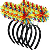 5 Pieces Pom Pom Head Bopper Rainbow Fluffy Ball...