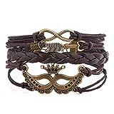 PoeticCharms Unisex Manschette Wickel Armband Seil Wristband mit 3 verstellbaren Knopf (Krone mit Unendlichkeitspfeil)