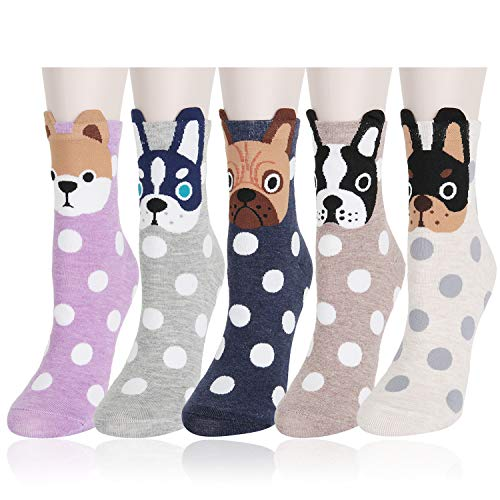 Womens Girls Funny Crazy Novelty Crew Socks Colorful Cute Silly Floral Cartoon Character Animal Cotton Dress Socks 5 Pairs, Dog